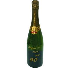 bottiglia spumante ferrari,incisione laser,smaltata in oro o argento,compleanno,matrimonio,festa,bere,regalo