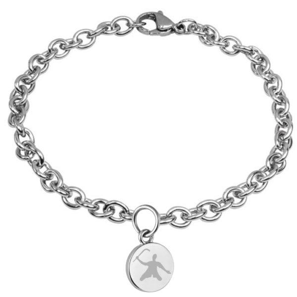 braccialetto con pendente diametro 15 mm inciso hockey pista logo 1 giocatore