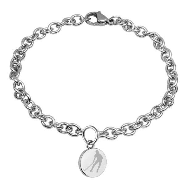 braccialetto con pendente diametro 15 mm inciso hockey pista logo 3 giocatore