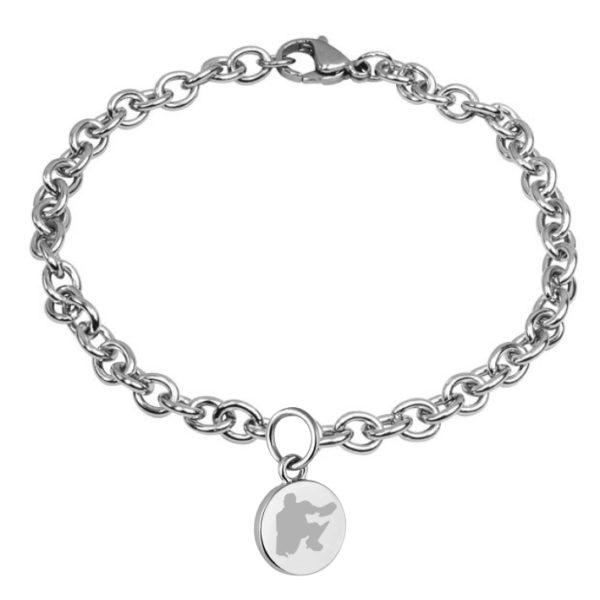 braccialetto con pendente diametro 15 mm inciso hockey pista logo 7 portiere