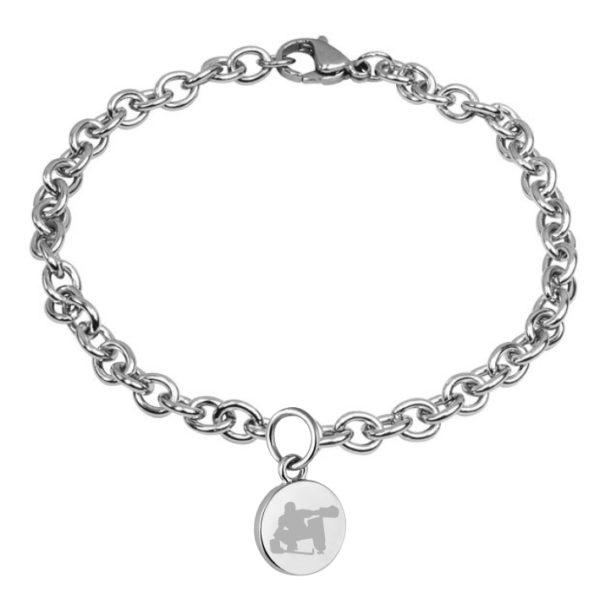 braccialetto con pendente diametro 15 mm inciso hockey pista logo 8 portiere