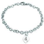 Braccialetto in acciaio con cuore o pendente inciso calcio femminile
