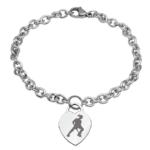 Braccialetto hockey pista Femminile con cuore o pendente tondo inciso