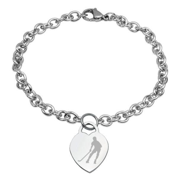 braccialetto con cuore inciso hockey pista logo 3 giocatore