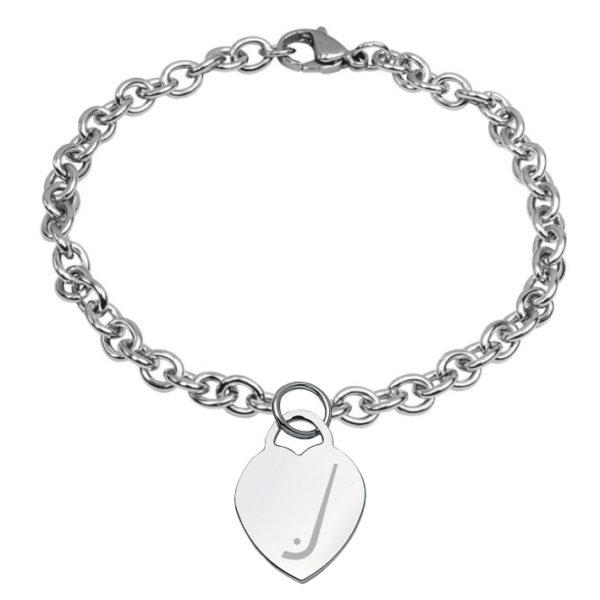 braccialetto con cuore inciso hockey pista logo 4 stecca