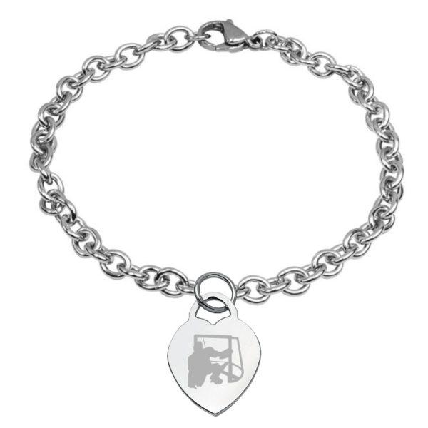 braccialetto con cuore inciso hockey pista logo 5 portiere