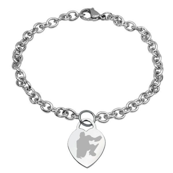 braccialetto con cuore inciso hockey pista logo 7 portiere
