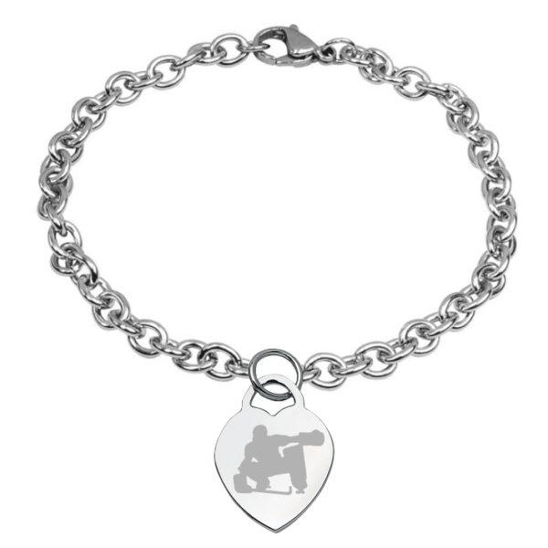 braccialetto con cuore inciso hockey pista logo 8 portiere