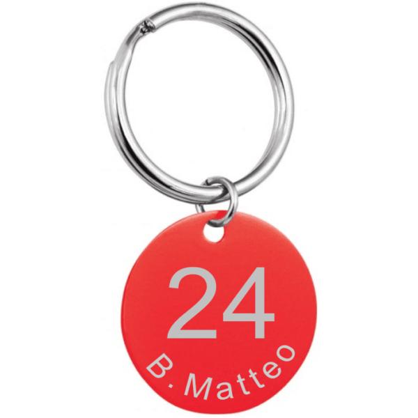 Porta chiave tondo alluminio rosso inciso con anello
