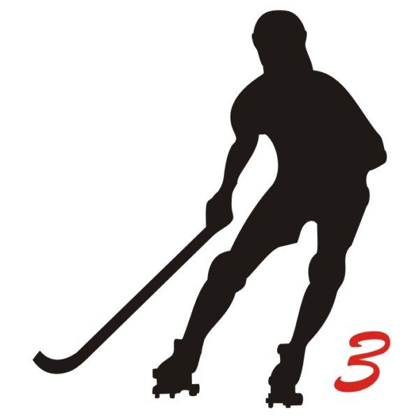 hockey pista logo 3 giocatore