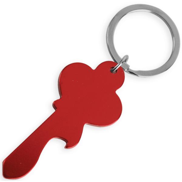 portachiave alluminio metallizzato sagoma chiave colore rossa da incidere