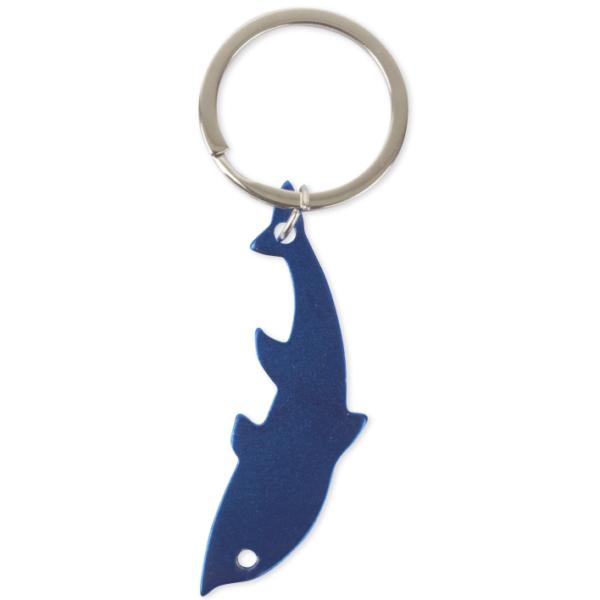 portachiave alluminio metallizzato sagoma delfino colore blu da incidere