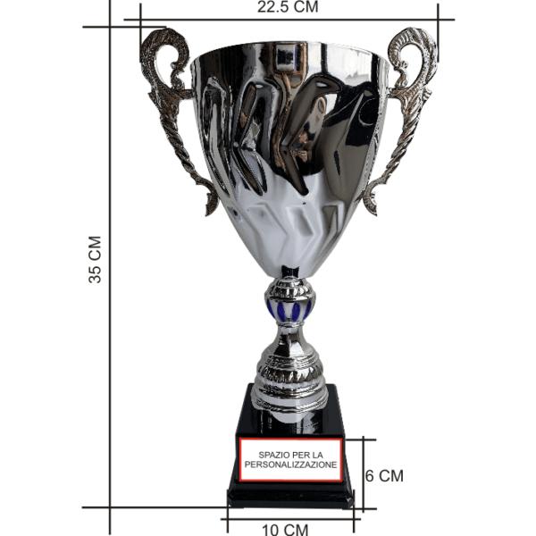 Art. 5210 coppa sportiva base in plastica nera componenti in plastica argento/blu tazza cono con manici