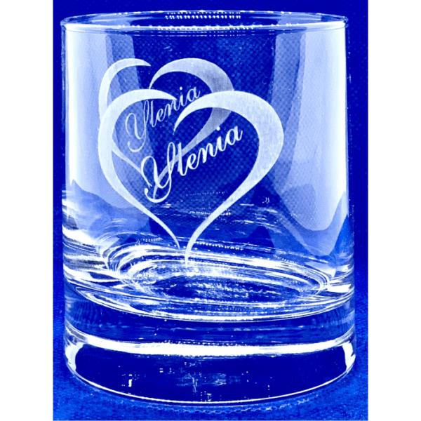 Bicchiere vetro inciso cuore e nome