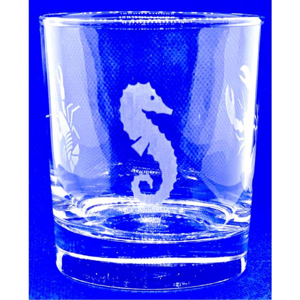 Bicchiere vetro inciso con cavalluccio marino