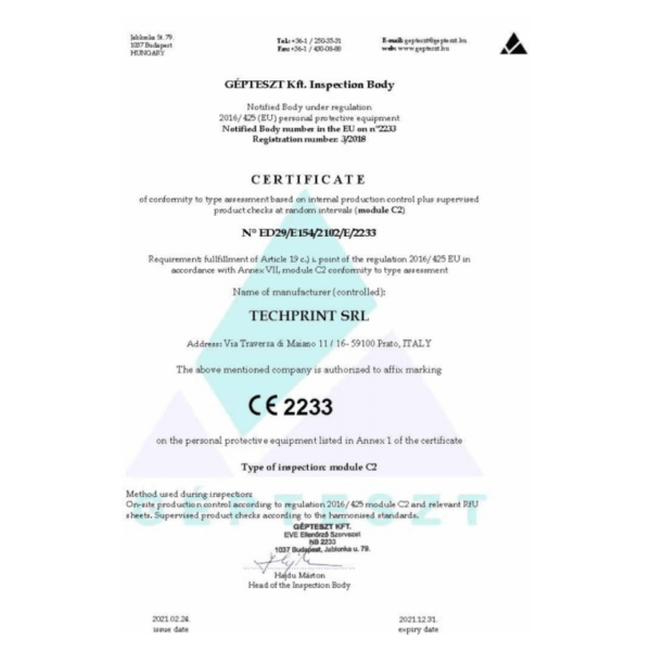 Certificato CE mascherina FPP2